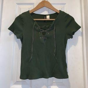 Medium Dark Green H&M Criss-Cross Crop Top